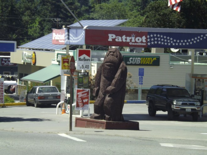 You can buy gas under the watchful gaze of Big Foot at this gas station in northern California _ Royal Hopper