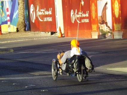 This regular Strip commuter rides his unusual  device down the Strip ;ate last week