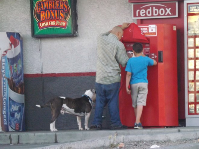 A father and son trip to the movies Redbox style- Photo by Royal Hopper