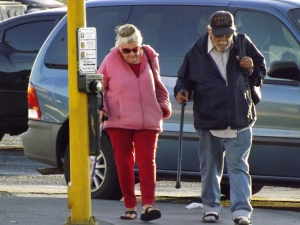 This is what it looks like. Two senior citizens out for a walk _ Royal Hopper