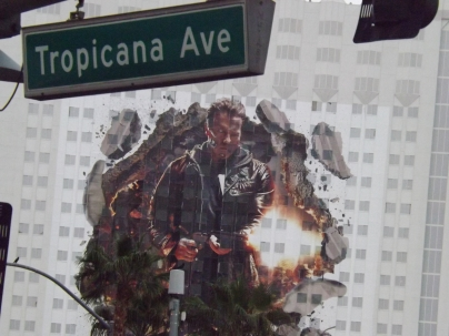 This huge painting of the Terminator himself graced the side of a Sin City hotel all last week and more to come - Royal Hopper