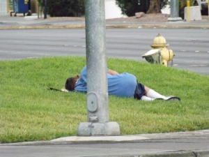 One of many sidewalk sleepers seen in the City of Sin last week _ Royal Hopper