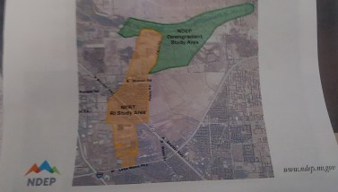 A photo of the map provided by NERT of area being investigated for pollution levels