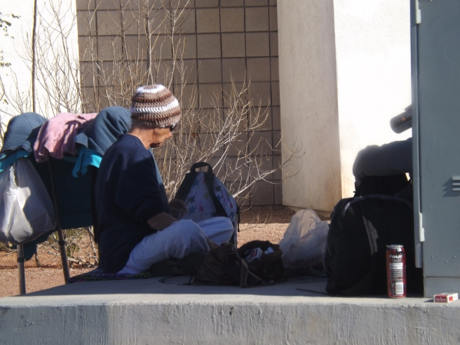 wintertime sidewalk guy
