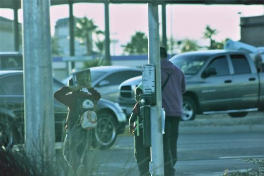waiting at crosswalk