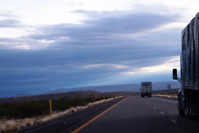a dark desert highway